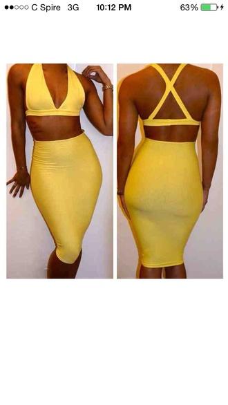 dress yellow bodycon dress