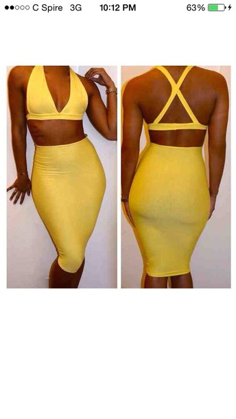 dress yellow bodycon dress