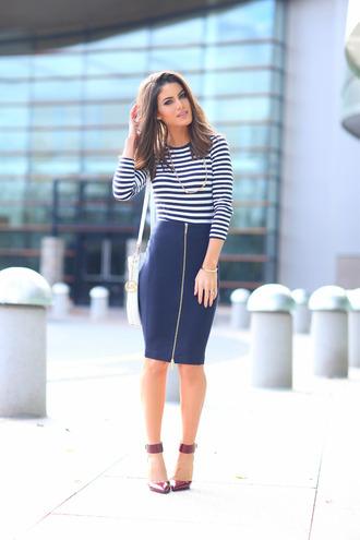 skirt zip-up skirt zipped skirt blue skirt midi skirt pencil skirt top long sleeves striped top pumps high heel pumps youtuber