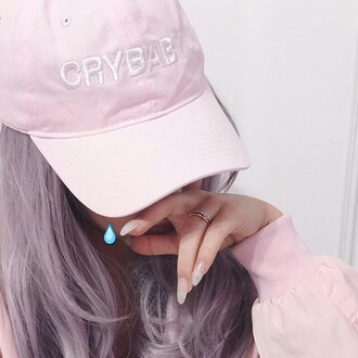 hat crybaby snapback pink pastel pink