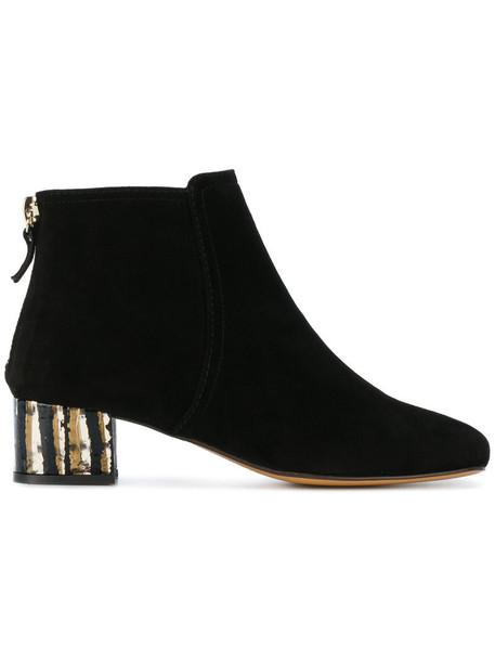 heel women booties leather suede black shoes