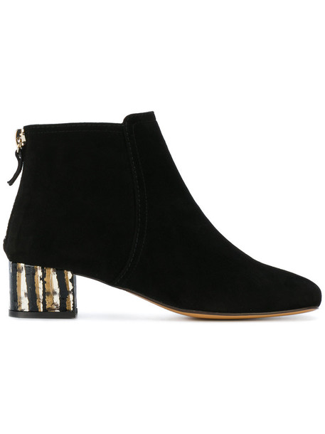 Tila March heel women booties leather suede black shoes