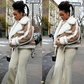 coat,rihanna,fenty,fashion street style,streetstyle,streetwear style,instagram,jacket,suede jacket,brown jacket,fuax fur jacket,fur coat,lambskin coat,insta baddie,rihanna style,rihanna clothes,fur winter jacket,brown winter coat,tumblr,tumblr outfit,nude coat