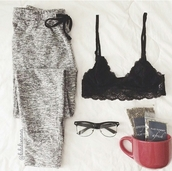 pants,bralette,black bralette,black bra,bra,fashion inspo,style,stylish,trendy,comfy,cozy,lounge pants,lounge,lounge wear,loungepant,on point clothing,lovely,affordable,wear,clothes,home girl pajamas,pajamas,sleepwear,underwear,sunglasses,nightwear,shirt,girl,black,hat
