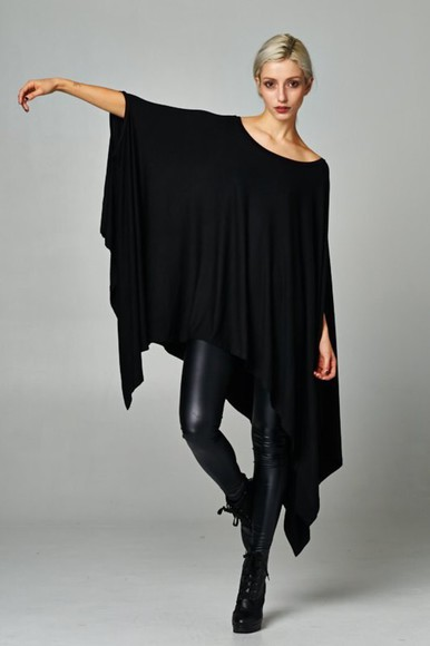 black top top black blouse tunic tunic top shark bite assymetric asymmetrical edgy trendy fashion poncho