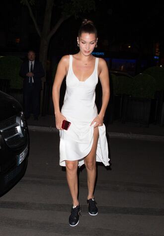 dress white white dress sneakers midi dress bella hadid model off-duty shoes