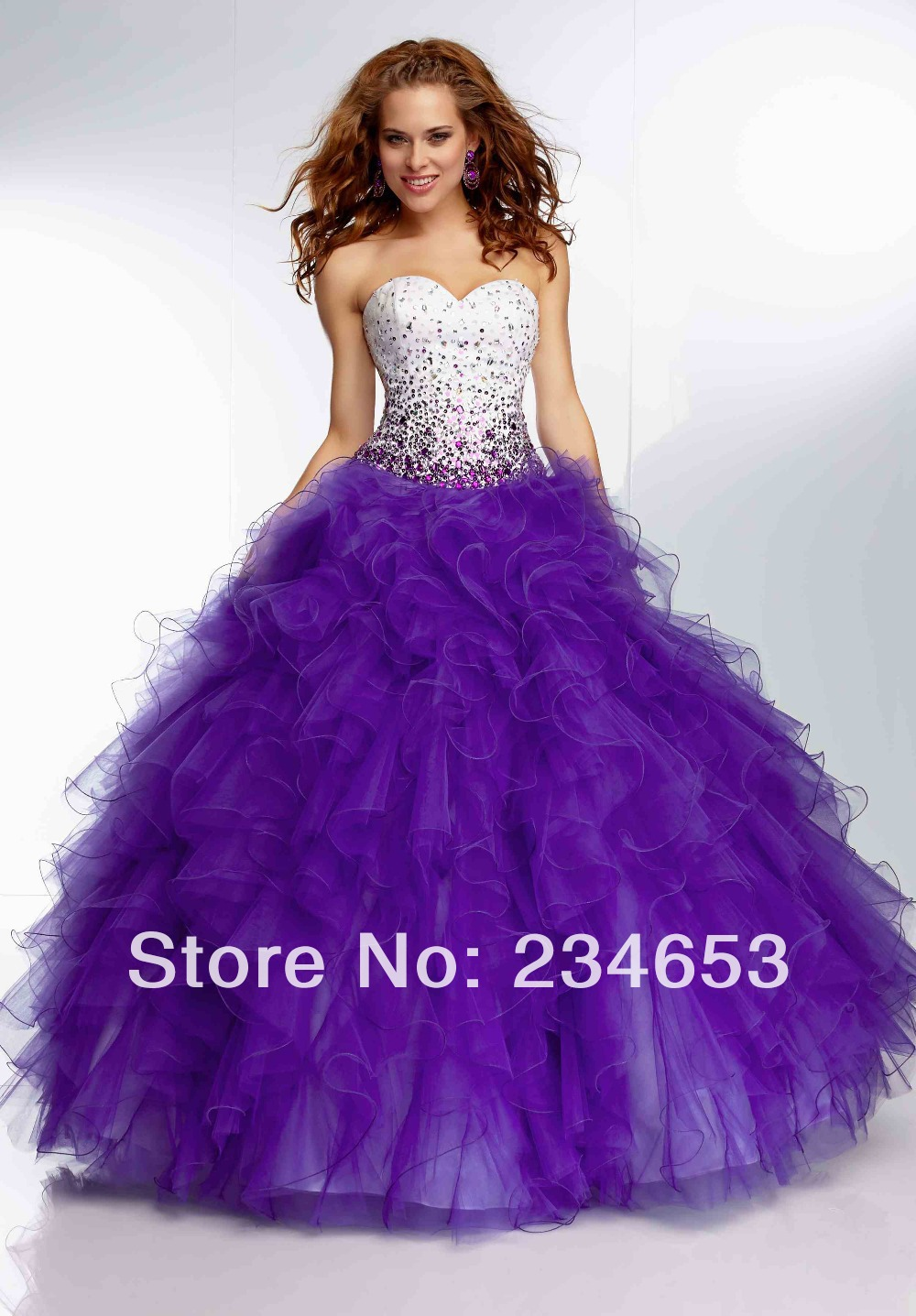 2014 New Strapess Beading Tulle Ball Gown Prom Dresses with Lace Up Back Formal Quinceanera Gown-in Prom Dresses from Apparel & Accessories on Aliexpress.com