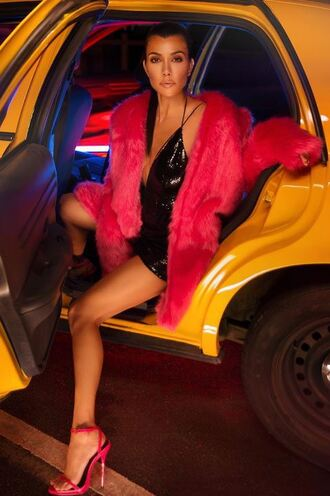 dress plunge dress sandals mini dress kourtney kardashian kardashians coat