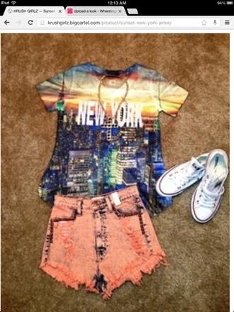 t-shirt dope new york city killem white converse the city shorts cute dress cut off shorts acid washed shorts orange jeans gold shoes