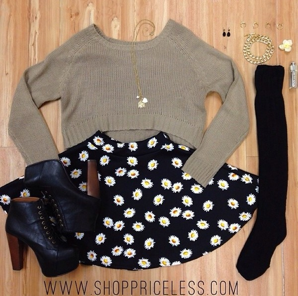 sweater sunflower skirt pale green