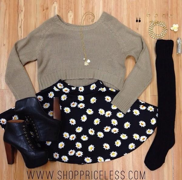 sweater sunflower skirt pale green