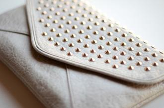 bag stud white/beige handbag clutch envelope clutch