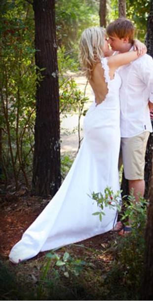 Dress wedding summer wedding dress wedding dress for Low cut back wedding dress