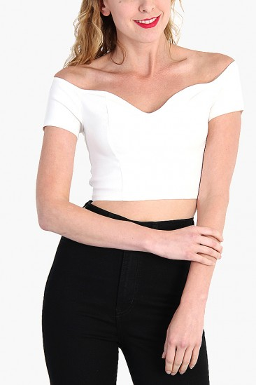 OMG OFF SHOULDER CROP TOP - WHITE
