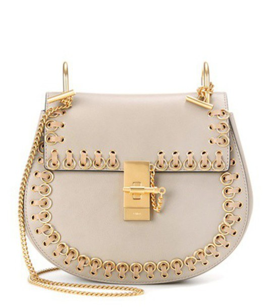 Chloé Drew Small Leather Shoulder Bag in grey