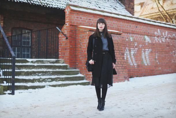 kapuczina blogger bag belt black skirt chiffon black coat