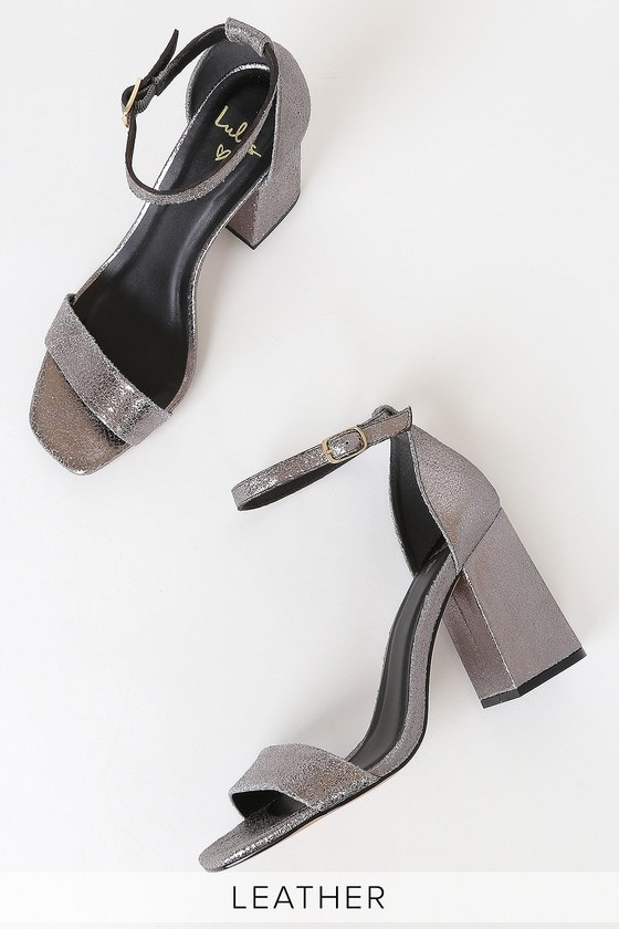 Taylor Leather II Pewter Metallic Ankle Strap Heels