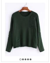 sweater,dark green,ripped,green sweater