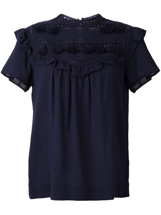 blouse embroidered tassel blue top