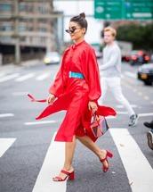 dress,midi dress,red dress,long sleeve dress,handbag,mules,sunglasses