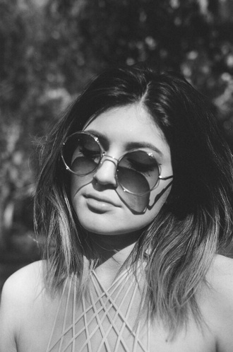 blouse white straps sleeveless kylie jenner straps and sleeveless tank top sunglasses glasses