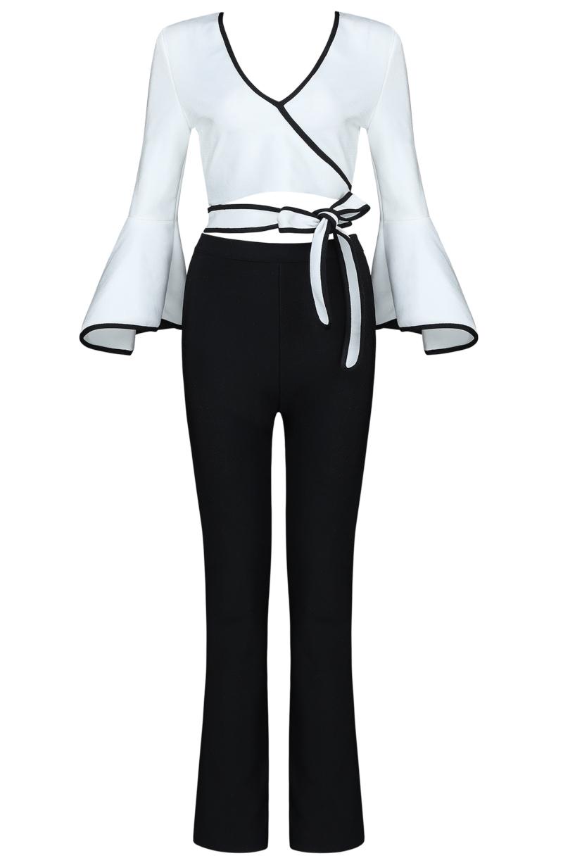 Fluted Sleeve Two Piece Bandage Jumpsuit Black White