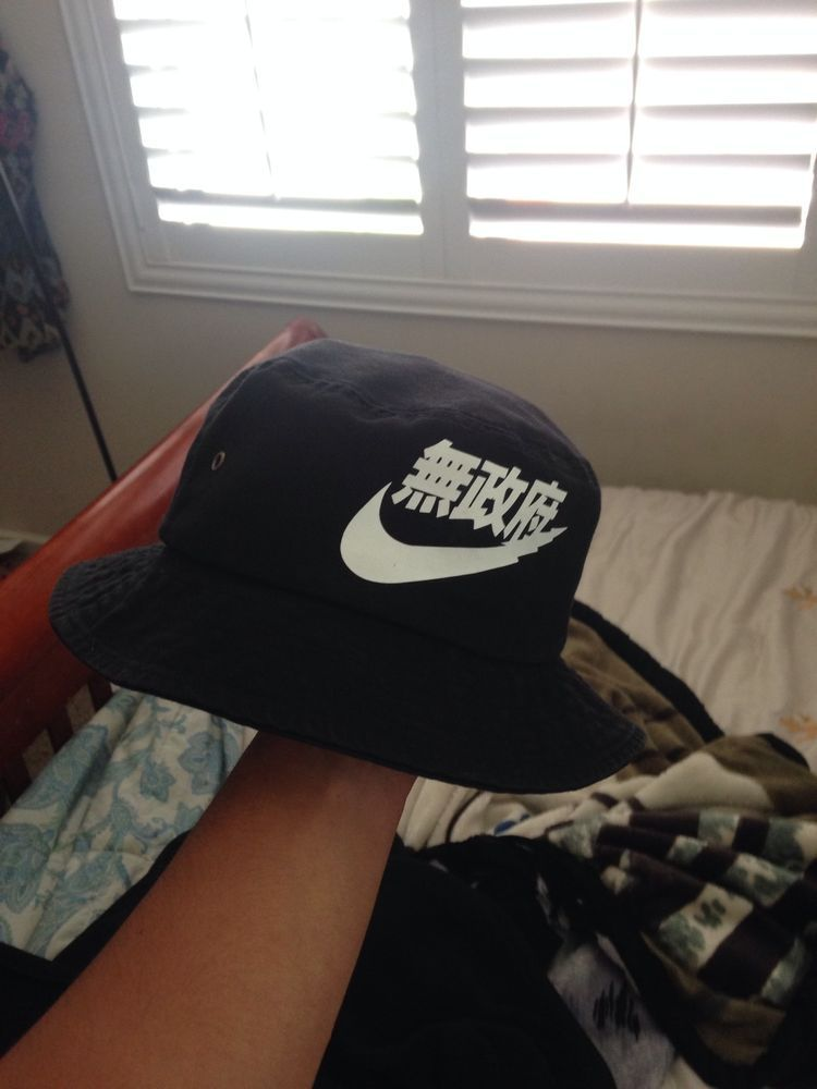 Vintage Nike Rare Air Japanese Letters Bucket Hat Black and White