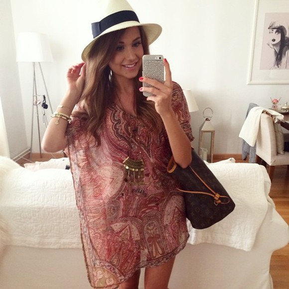 tunic dress blouse shirt tunic dress paisley print sheer transparent shirt red jewels necklace gold jewelry necklaces