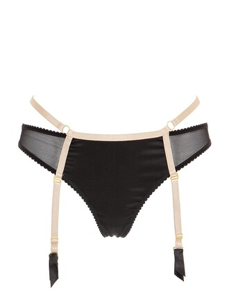 thong black beige underwear
