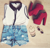 shoes,heels,red,summer,girly,high heels,shirt,shorts,blouse,classy,studded shorts,t-shirt,outfit,fashion,boots,girly outfits tumblr,colorful,any color,peep toe heels,peep toe boots,style