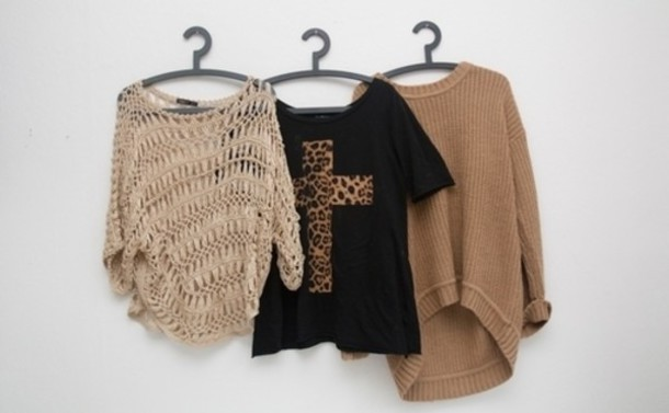 black t-shirt sweater black brown cross mark