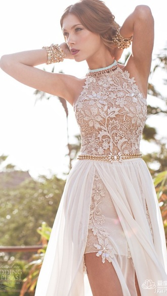 dress cream prom dress wedding dress lace top