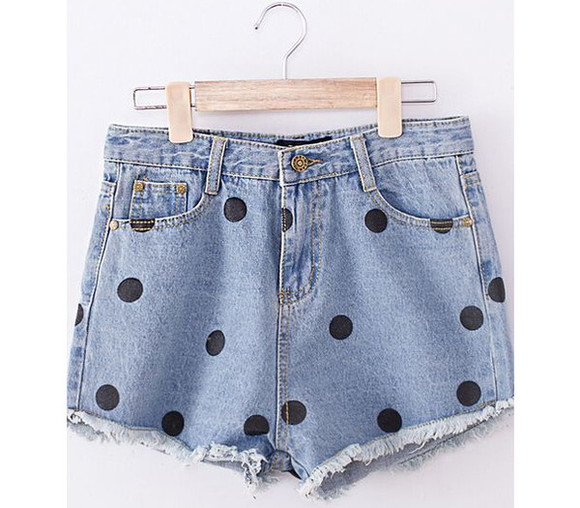 fashion vintage grunge 90's cute jeans shorts high waist denim shorts polka dot shorts High waisted shorts retro