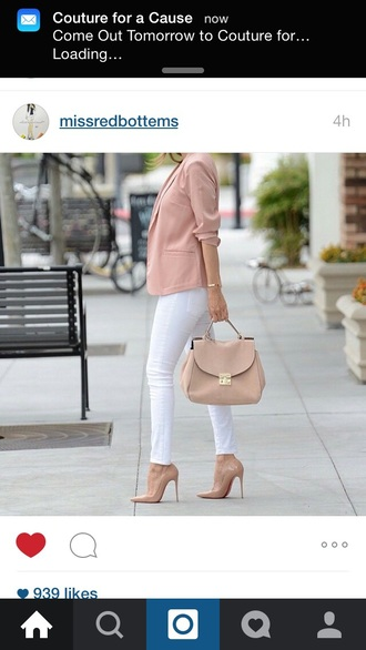 bag nude dress pretty coat shoes