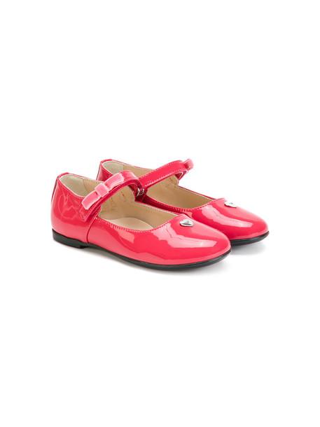 Armani Junior heart sandals leather purple pink shoes