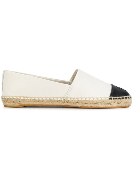 Tory Burch women espadrilles leather white cotton suede shoes