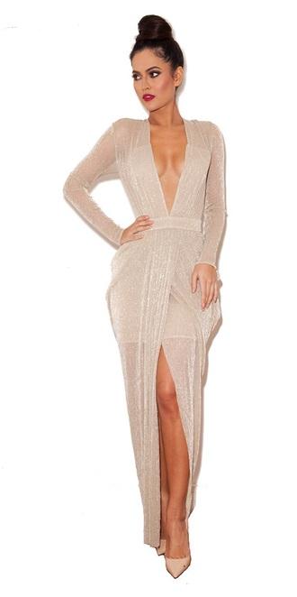 dress nude shimmer nude dress chiffon dress long dress