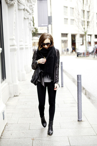 flirting with fashion blogger scarf sunglasses jewels leather jacket jacket t-shirt jeans shoes bag