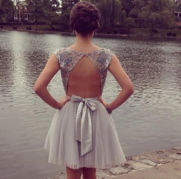 dress prom dress short prom dress grey sequin dress jewels backless prom dress