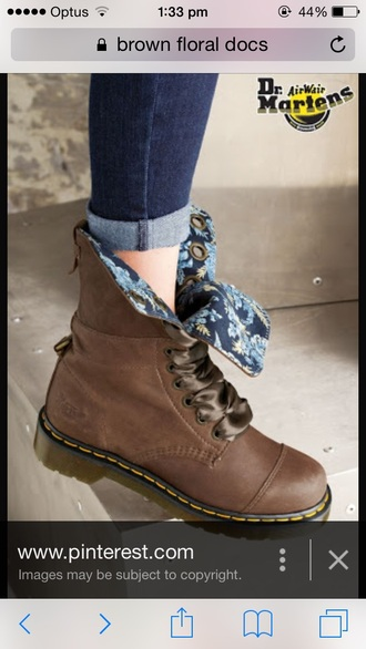 shoes brown docs boots brown boots floral blue drmartens