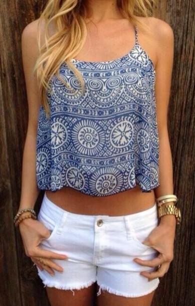 blouse tank top top crop tops shirt blue and white boho shirt