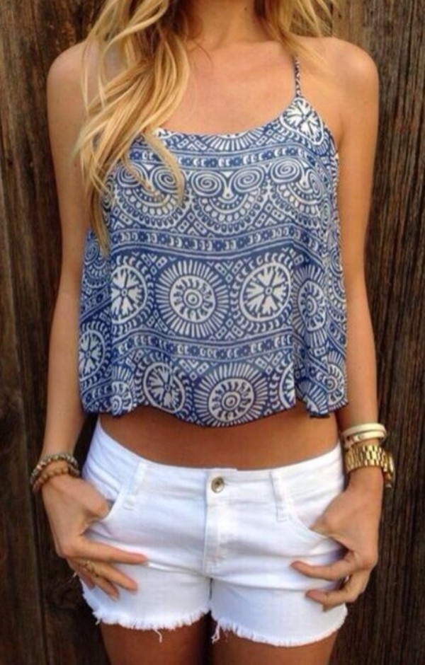 blouse tank top top crop tops shirt blue and white boho shirt