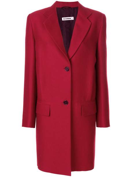 Jil Sander coat women silk wool red