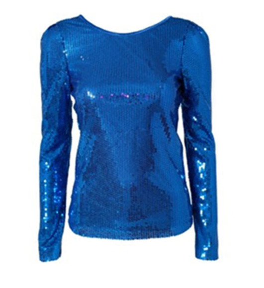 new years sweater blue sequin top long sleeve blue sequin party