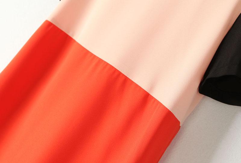 Apricot Red Contrast Short Sleeve Split Dress - Sheinside.com