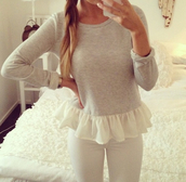 shirt,blouse,cute,sweater,white,grey sweater,peplum,grey,jeans,pants,ruffle,top,long sleeves,grey top wanted,volang,this one pls,romper