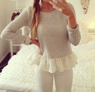 sweater shirt peplum grey jeans pants white ruffle