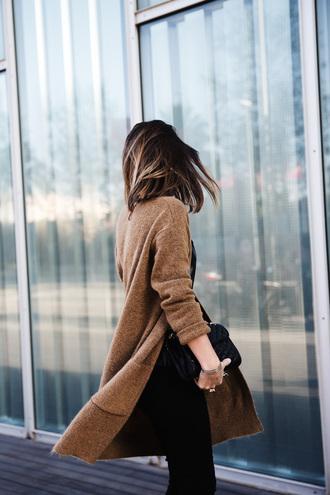 coat brown coat brunette classy classy outfit black bag
