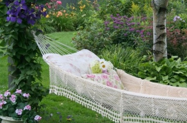 home accessory hammock boho garden flowers floral plants white lace chill