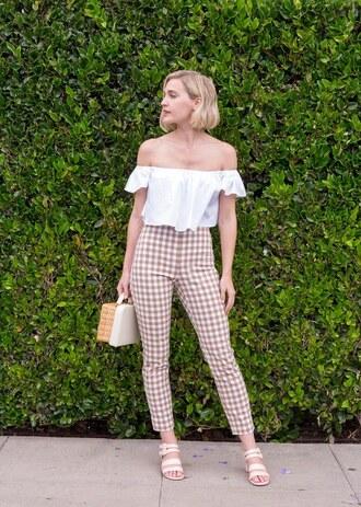 pants top tumblr gingham sandals sandal heels high heel sandals white top off the shoulder off the shoulder top bag basket bag